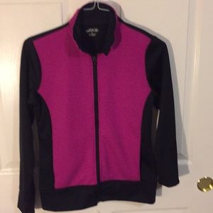 BCG pink and black jacket.